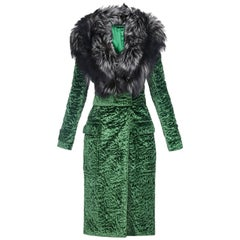New Tom Ford Forest Green Astrakan Velvet Coat with Fox Fur from Ad Campaign