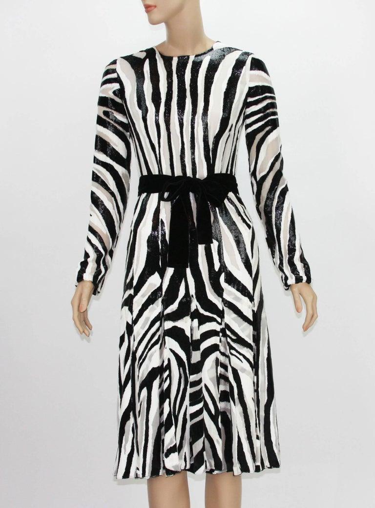 New Tom Ford Fur-Like Zebra Print Semi-Sheer Belted ...