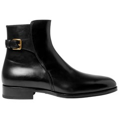 New Tom Ford Men's AUSTIN Polished-Leather Black Boots size 10 - Fr.42