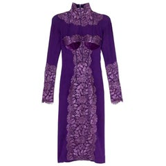 New Tom Ford Metallic Amethyst Lace Cocktail Dress