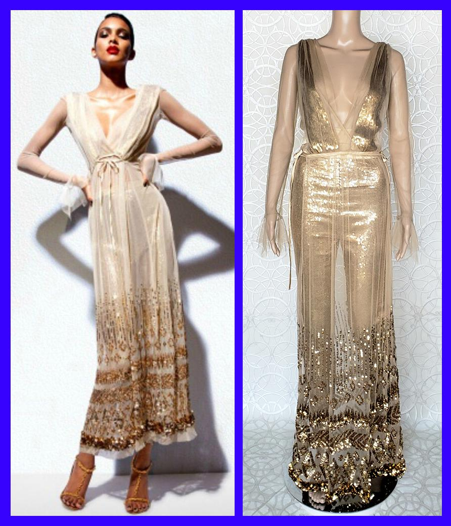 New TOM FORD NUDE EMBELLISHED CHIFFON DRESS w/ GOLD SEQUIN PANTS 38 - 2