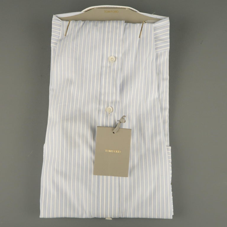dbb9f9b3f1 New TOM FORD Size L Blue & White Striped Cotton Button Up Long Sleeve Shirt  In