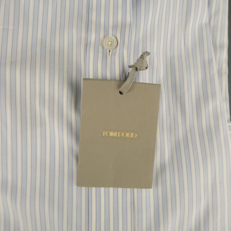 82379360a6 New TOM FORD Size L Blue & White Striped Cotton Button Up Long Sleeve Shirt  For