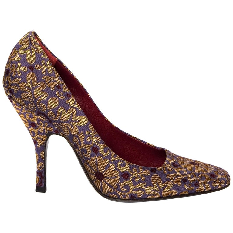 New Tom Ford Yves Saint Laurent YSL Brocade Heels Pumps Sz 38.5 For Sale