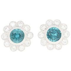 Tourmaline and Diamond Halo Stud Earrings, 14k Gold Pierced Round Cut 1.73 Carat