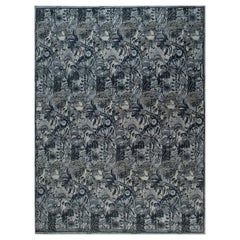 New Traditional Inspired Bold Design Blue & Gray Hand-knotted Wool Rug