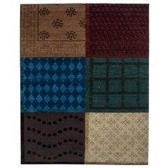 New Traditional Nepalese Burgundy, Indigo, Navy Blue, Beige and Brown Wool Rug