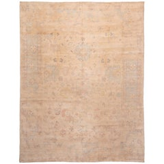 New Traditional Oushak Pastel Wool and Silk Rug with Floral Accents