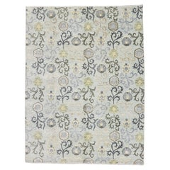 New Transitional Area Rug with Modern Abstract Floral Design