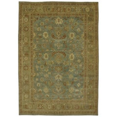 New Transitional Area Rug with Oushak Pattern and Warm Colors