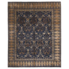 New Transitional Blue and Beige Wool Rug with Dragon Motifs Floral