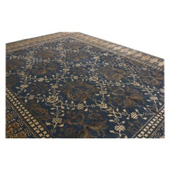 New Transitional Blue and Beige Wool Rug with Dragon Motifs