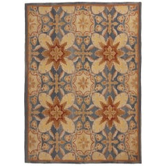New Transitional Blue and Cream Wool Rug with 18th Century Aubusson Design