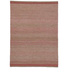 New Transitional Dhurrie Pink Kilim Rug with Romantic Coastal Cottage Style