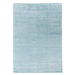 New Transitional Indo Rug, Tone on Tone Design Hand Knotted Wool, Blue and Gray