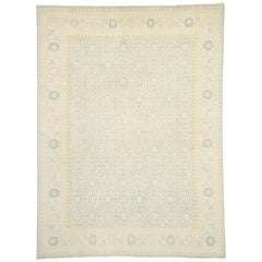 New Transitional Khotan Style Area Rug with Modern Design, Muted Light Color Rug
