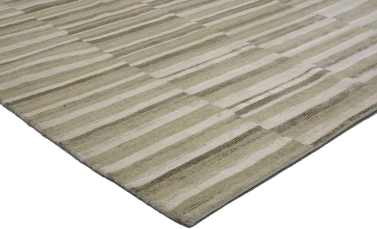 30241 New Transitional Striped Area rug with Modern style. With modern style and warm earth-tones, this hand knotted wool transitional striped area rug features both wide and narrow bands forming a captivating visual effect. Highlighting the finest