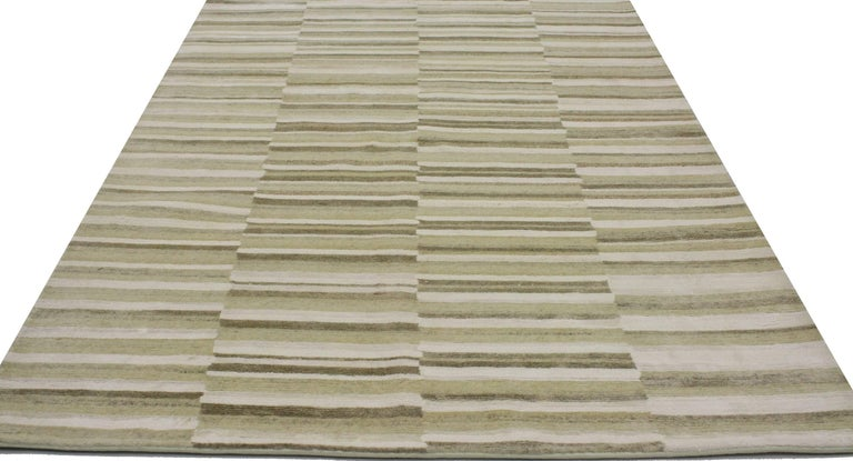 Indian New Transitional Striped Area Rug with Modern Style For Sale