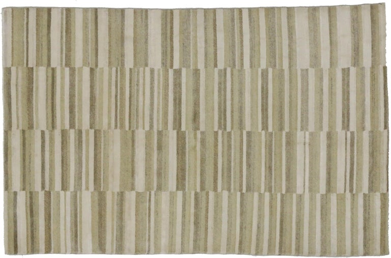 Hand-Knotted New Transitional Striped Area Rug with Modern Style For Sale