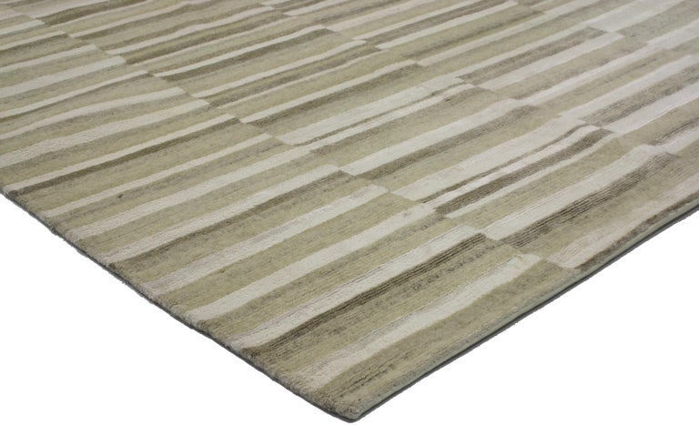 New Transitional Striped Area Rug with Modern Style In New Condition For Sale In Dallas, TX