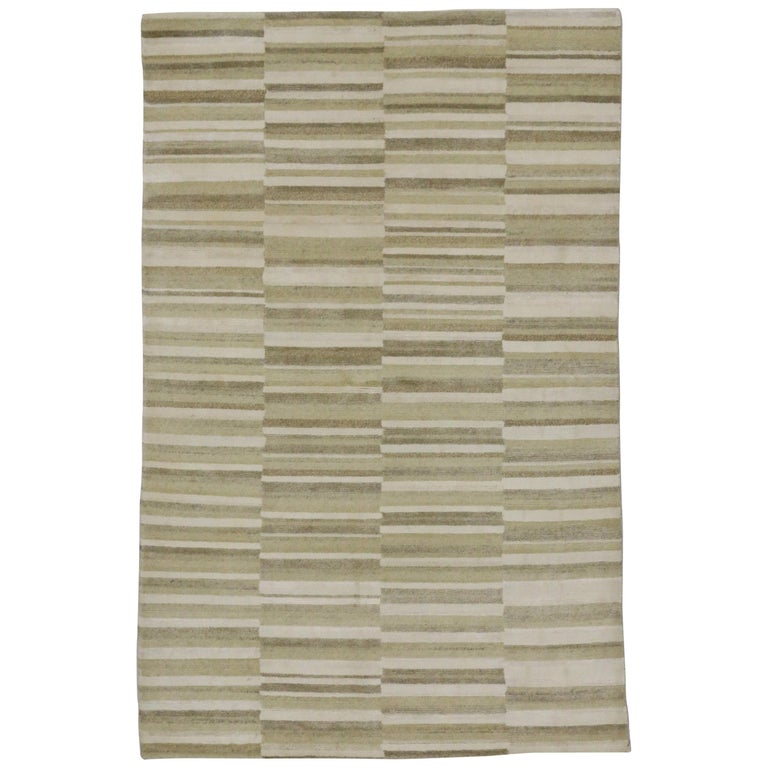 New Transitional Striped Area Rug with Modern Style For Sale