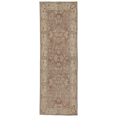 New Transitional Style Runner with Oushak Design, Small Hallway Runner