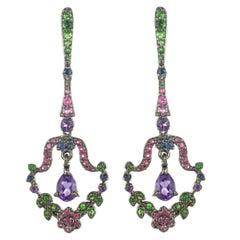 New Tsavorite Garnet Sapphire Amethyst Silver Dangle Pendant Earrings by Baume