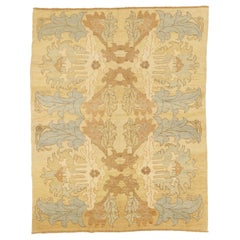 New Turkish Donegal Rug with Brown & Gray Botanical Details