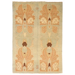 New Turkish Donegal Rug with Brown and Ivory Botanical Details
