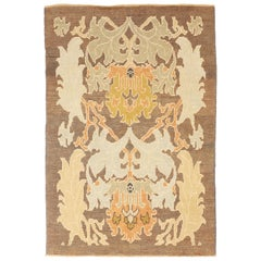 New Turkish Donegal Rug with Gold, Green and Blue Botanical Details