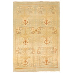 New Turkish Donegal Rug with Ivory and Brown Botanical Details