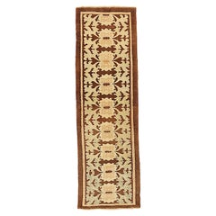 New Turkish Donegal Runner Rug with Beige Floral Details on Brown Field