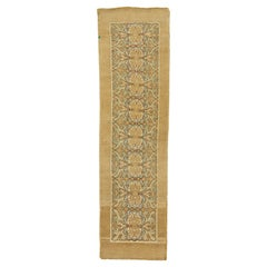 New Turkish Donegal Runner Rug with Blue and Green Floral Details