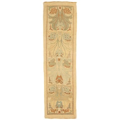 Turkish Donegal Runner Rug with Brown and Blue Floral Details