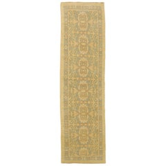 New Turkish Donegal Runner Rug with Gray and Green Floral Details on Beige Field