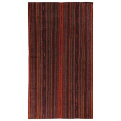 New Turkish Kilim Rug with Black and Red Tribal Stripes