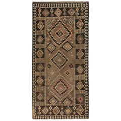 New Turkish Kilim Rug with Pink and Ivory Medallions on Brown Field