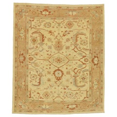 New Turkish Oushak Area Rug with Arts & Crafts Style