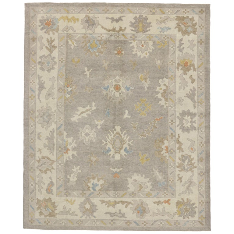 New Turkish Oushak Area Rug With Light, Neutral Colors For