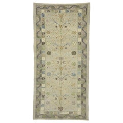 New Turkish Oushak Gallery Rug with Pomegranate Design, Modern Style Wide Runner