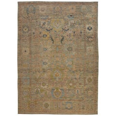 New Turkish Oushak Rug with an 'Oasis of Flowers' All-Over Design Pattern