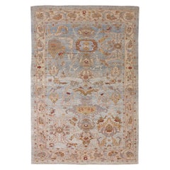 New Turkish Oushak Rug with Brown and Beige Botanical Patterns