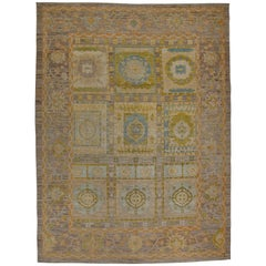 New Turkish Oushak Rug with Mixed Geometric and Floral Details