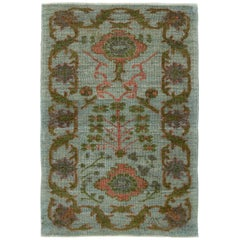 New Turkish Oushak Rug with Pink and Green Floral Details on Blue Field