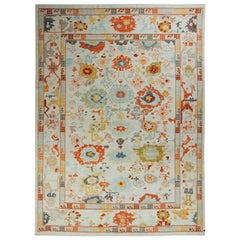 New Turkish Oushak Rug with Red & Yellow Floral Details on Ivory Field
