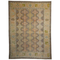 New Turkish Oushak Rug with Rows of Green, Blue and Orange Medallions