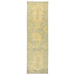 New Turkish Oushak Runner Rug with Ivory Botanical Details on Blue Field