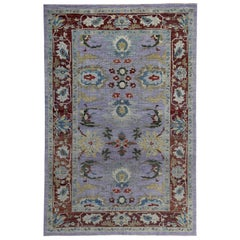 New Turkish Rug Sultanabad Design with Brown, Blue and Purple Botanical Details
