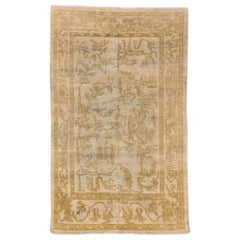 New Turkish Sultanabad Style Rug with Brown and Gold Botanical Motifs