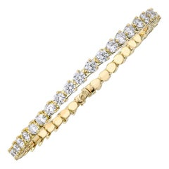 New Type of Spring Bangle Diamond Tennis 18 Karat Yellow Gold Bracelet